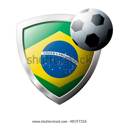 Vector illustration - abstract soccer theme - shiny metal shield isolated on white background with flag of Brazil