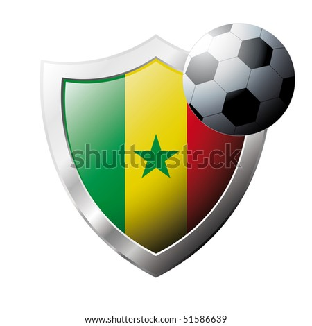 Vector illustration - abstract soccer theme - shiny metal shield isolated on white background with flag of Senegal