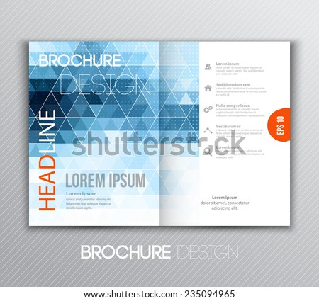 Vector illustration Abstract template brochure design with blue  geometric background - stock vector
