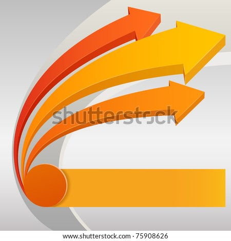 Vector illustration. Abstract upward arrows with gray background - stock vector