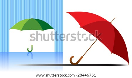 Vector illustration af a green and red umbrellas. - stock vector
