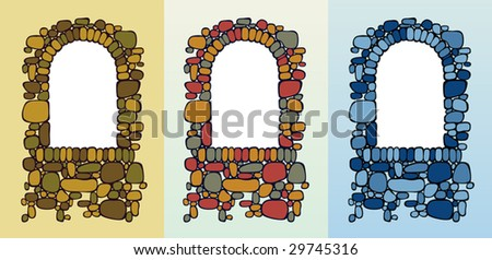 Vector illustration af an ancient arch window. - stock vector
