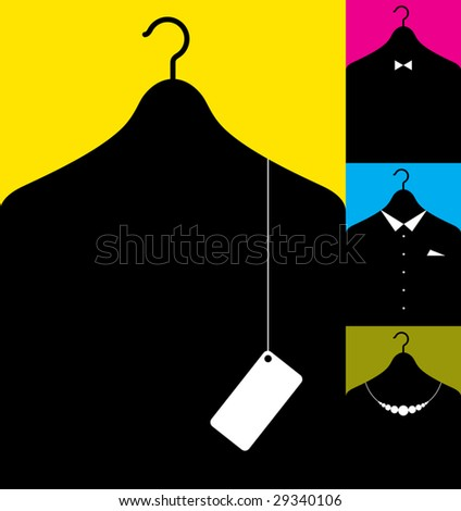 Vector illustration af coat-hanger with clothes silhouettes. - stock vector