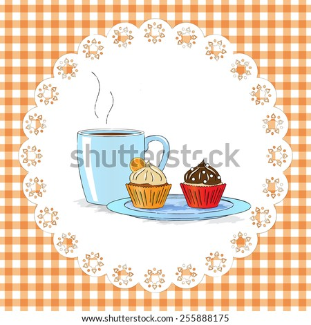 Vector illustration : Afternoon snack with cupcakes and cap of tea - stock vector