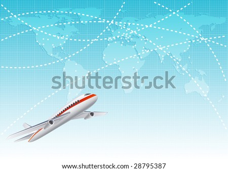 Vector illustration - aircraft  at the blue world map - stock vector
