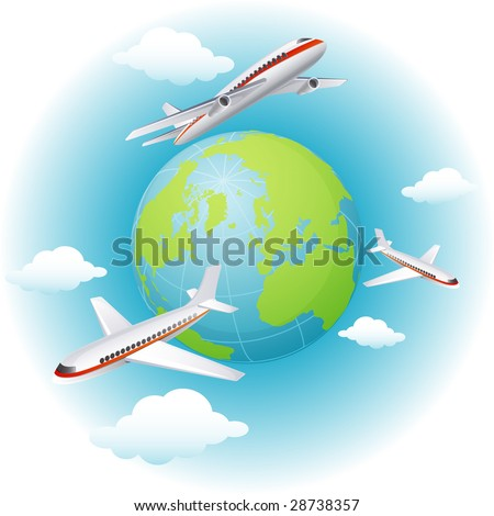 Vector illustration - airplanes flying around the Earth - stock vector