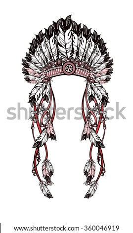vector illustration American Indian headdress with feathers and ribbons - stock vector