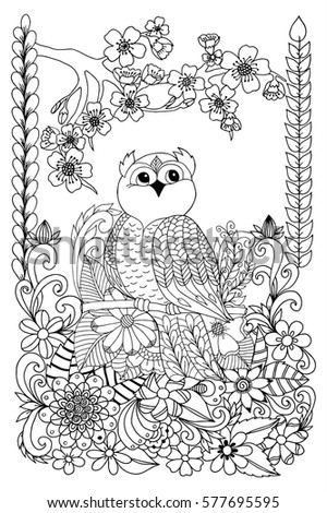 Coloring Page Dog Two Cats Sparrow Stock Vector 721188460