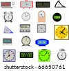 Vector illustration 20 analog and digital clocks. Vector - stock vector