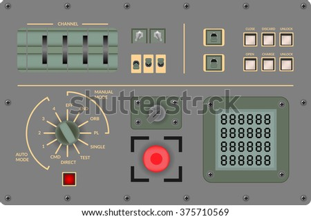 Vector illustration - Analog vintage control panel - stock vector