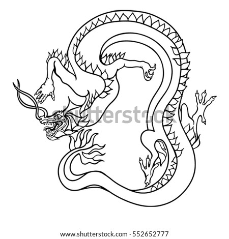 ancient chinese dragon hand drawn art poster for printing textile seamless