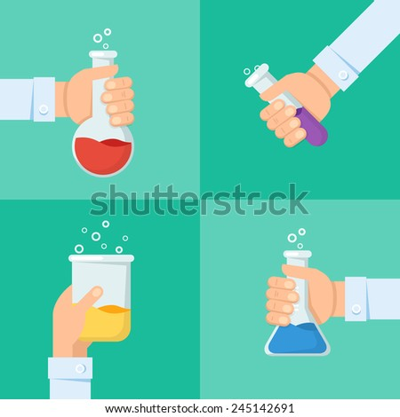 Vector illustration and banner. Flat background with hand and flask. Global health concept background. - stock vector