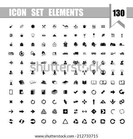Vector illustration and other various icons.