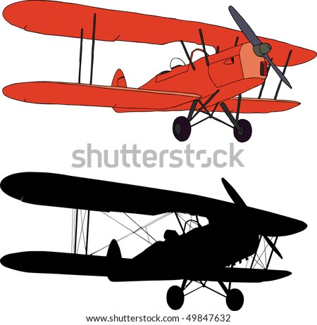 Vector illustration and silhouette of an old biplane - stock vector