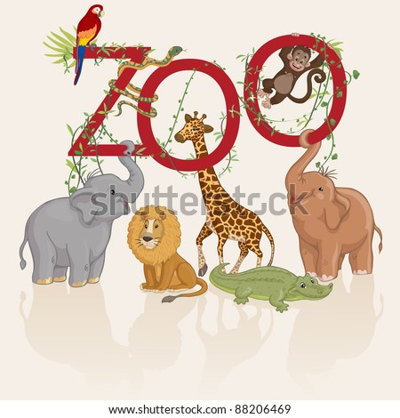 Vector illustration, animals invite you at zoo, card concept, white background. - stock vector