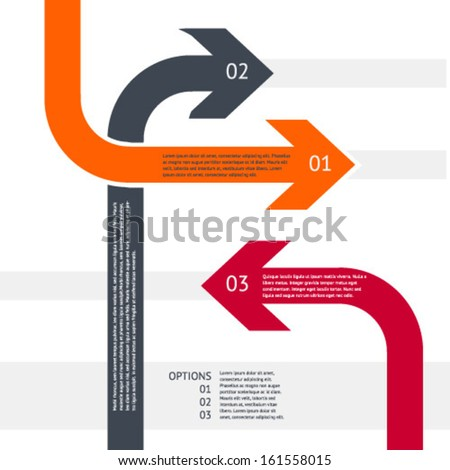 Vector illustration. Arrows Options Infographics. Minimalistic design with presentation/leaflet/diagram/step options/number options/web design. - stock vector