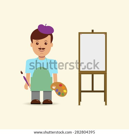 Vector illustration artist and easel.  - stock vector
