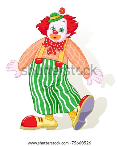 Vector illustration, astonished clown, cartoon concept, white background. - stock vector