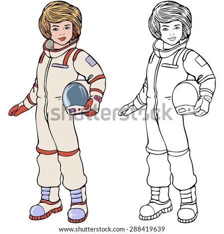Vector illustration, astronaut, coloring drawing, card concept, white background.