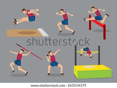 Vector illustration athlete doing different track and field sports, long jump, running, hurdles, javelin throw, shot put and high jump, isolated on grey background. - stock vector