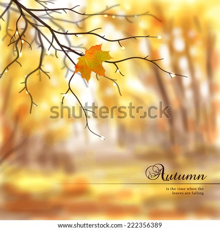 Vector illustration. Autumn composition with wet tree branches and maple leaf. Blurred misty background. Place for your text. - stock vector