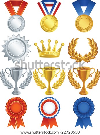 Vector illustration - Awards icon set - stock vector