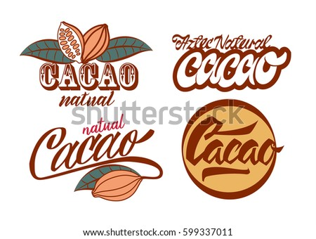 Vector illustration aztec cacao logo collection for chocolate package design on brown, red, green, grey, yellow colors in white backdrop.