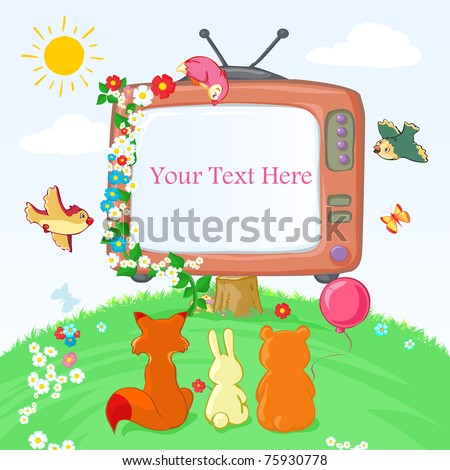 Vector illustration, baby animals watching Tv, card concept. - stock vector