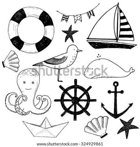 vector illustration baby set of marine elements, sea gull, boat, barnacles and octopus - stock vector