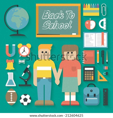 Vector illustration: Back to School Flat Icons Set - stock vector