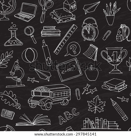 Vector illustration  Back to school seamless pattern of kids doodles with bus, books, computer and world map on blackboard  - stock vector