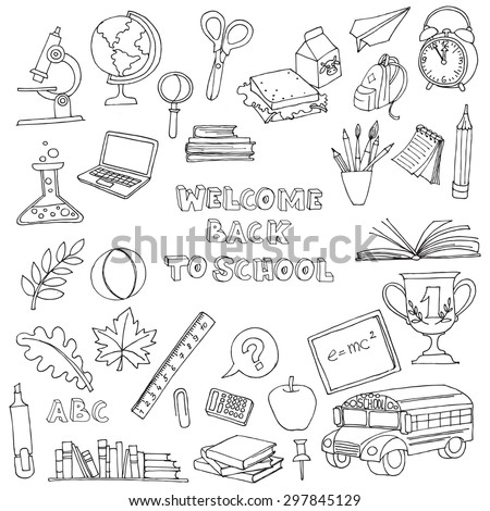 Vector illustration Back to school set of kids doodles with bus, books, computer, blackboard and world map - stock vector