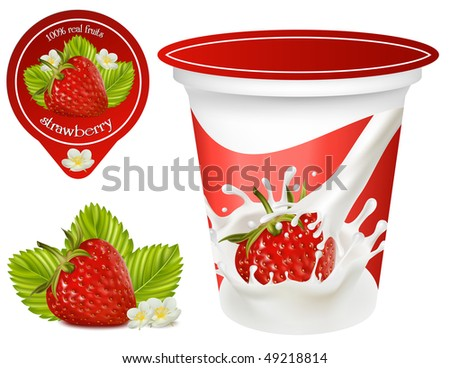 Vector illustration. Background for design of packing yoghurt with photo-realistic vector of strawberry. Red ripe  strawberry with leaves and flowers. - stock vector