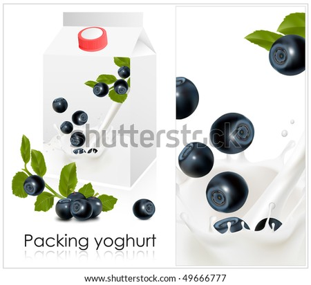 Vector illustration. Background for design of packing yoghurt with photo-realistic vector of blueberry.