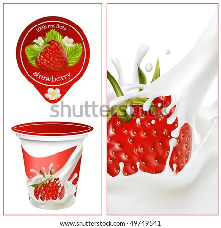 Vector illustration. Background for design of packing yoghurt with photo-realistic vector of strawberry. - stock vector