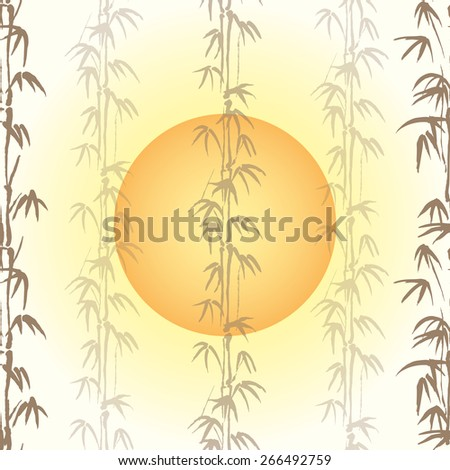 Vector illustration background with bamboo and sun - stock vector