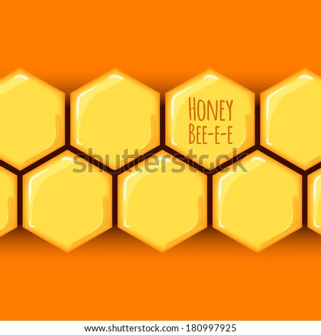 vector illustration. background with honeycombs and place for text - stock vector