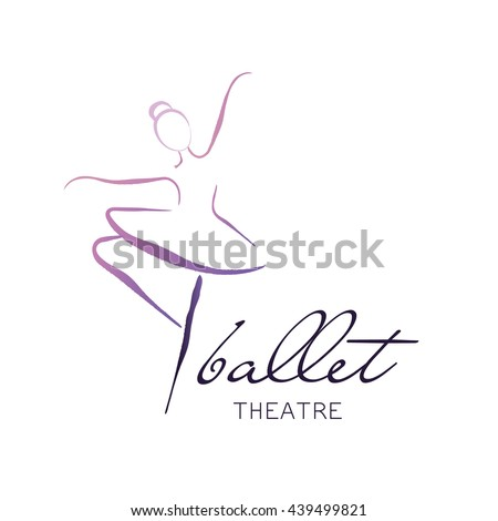 Vector illustration ballerina icon in dance. Design poster ballet school, dance studio - stock vector