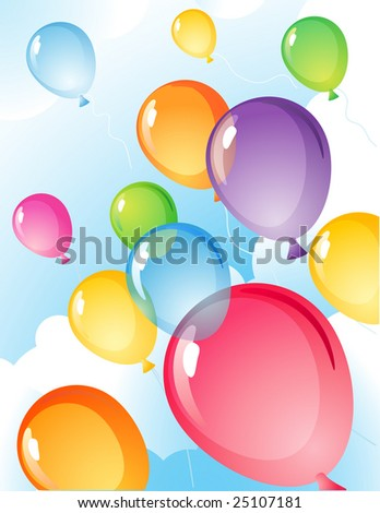 Vector illustration - balloons  in the sky - stock vector
