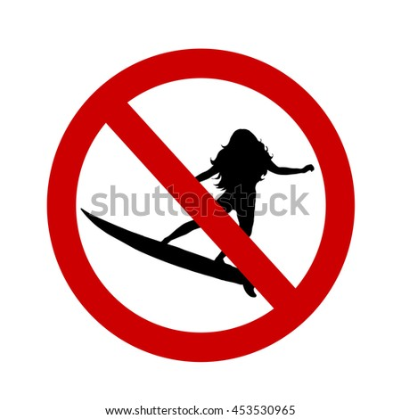 Vector illustration ban surfing on a white background.
