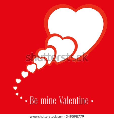 Vector illustration. Banner for design poster or invite Valentine's Day with hearts and title isolated on red background