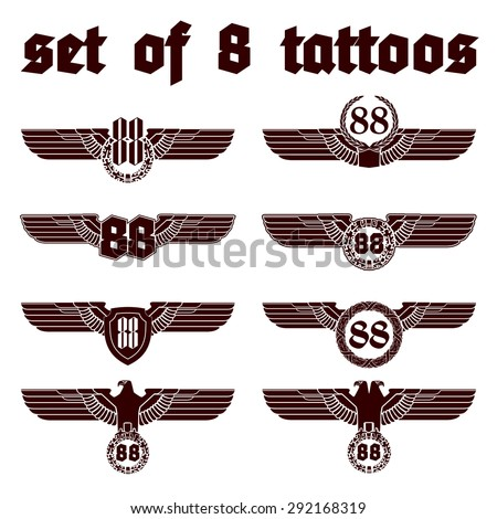"""vector illustration banner set of 8 tattoos with design number """"88"""" with wings and stamp eagle on the shield isolated - stock vector"""