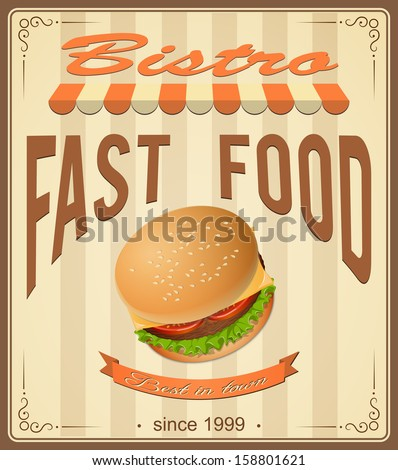 vector illustration banner with burger  on the vintage background- eps10