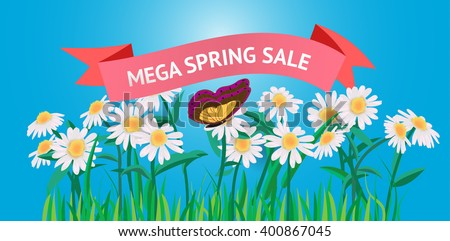 vector illustration banner with red ribbon, text, butterfly, daisy flowers and leaves on a blue background  - stock vector