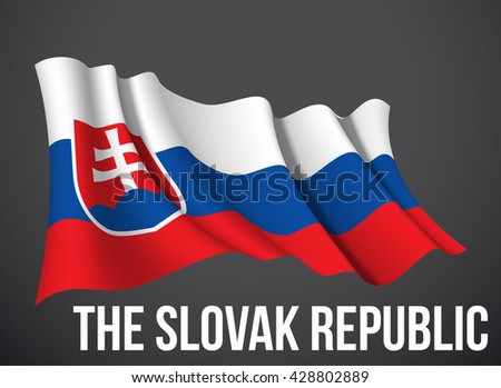 vector illustration banner with Slovak flag waving in the wind isolated on a dark background. Modern day of independence country. Holiday card with standard Spirit of the union National Day