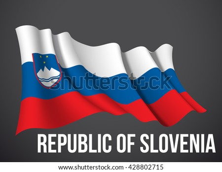 vector illustration banner with Slovenia flag waving in the wind isolated on a dark background. Modern day of independence country. Holiday card with standard Spirit of the union National Day