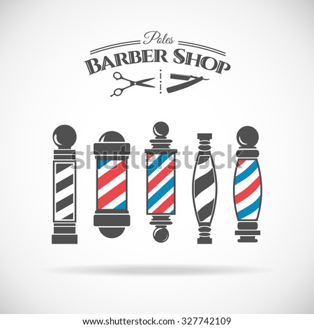 Vector illustration  barber shop vintage pole collection  isolated  on white background.