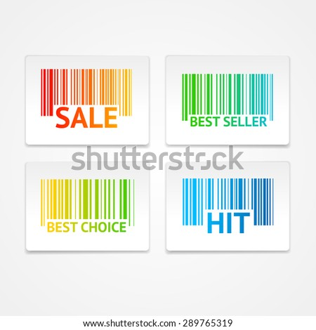 Vector illustration barcode sale labels. The concept of best value and a great choice - stock vector
