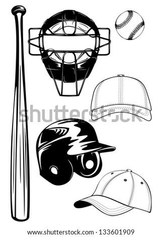 Vector illustration baseball helmet,  bat, cap, ball, mask set - stock vector