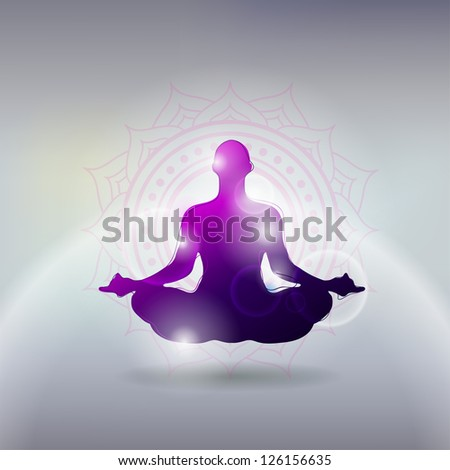 Vector illustration Basic Yoga Poses in Silhouette - stock vector